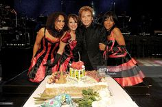 Melanie Nyema, Keely Vasquez, Barry Manilow and Muffy Hendrix celebrate the first anniversary of Barry Manilow's show at Paris Las Vegas on April 1, 2011 in Las Vegas, Nevada.