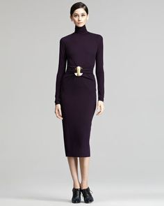 Open-Back Turtleneck Dress by Donna Karan at Neiman Marcus. Looks fab from the back Donna Karan, Tie Dress, Dress Skirt, Muse, Neiman Marcus Dresses, Mid Length Skirts, Beautiful Lines, Fitted Skirt, Love Fashion