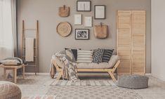 Beige Walls Bedroom, Beige Sofa Living Room, Surf Bedroom, Bold Living Room, Accent Walls In Living Room, Living Room Colors, Colour Combinations Interior, Room Interior Colour, Beige Wall Colors