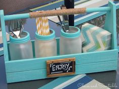 Mason Jar Crafts - Light Blue Wooden Jar Caddy with Frosted Mason Jars. Could make from scrap wood. Mason Jar Projects, Mason Jar Crafts, Frosted Mason Jars, Frosted Glass, Pot Mason Diy, Pots Mason, Condiment Holder, Restaurant Tables, Restaurant Ideas