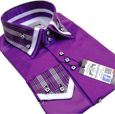 New Mens Smart Casual, Purple & White Check Double Collar Italian Slim Fit Shirt