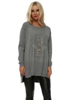 5c92bd450a8 Add a twist of glamour to your knitwear collection this season in this Laetitia  Mem grey pearl queen bee jumper.
