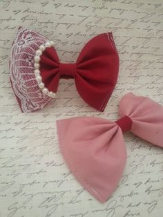 Valentine's Day Bows  Pink and Red Lolita by SweetDreamsPrincess, $18.00