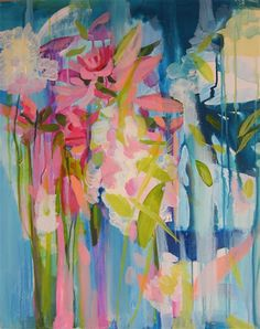 acrylic painting | Floral Waterfall Part I | Ugallery Online Art Gallery