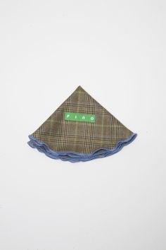 Olive Glen Plaid Wool (Italian Super 100's) Pocket Round w/ Light Blue Trim