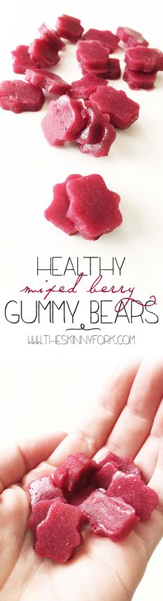 substitute gelatin---Healthy Mixed Berry Gummy Bears - Made with fruit juice, fresh fruit, and not much else! Healthy and homemade! Gluten free and all natural. New Fruit, Fruit Juice, Fresh Fruit, Mixed Fruit, Mixed Berries, Healthy Sweets, Healthy Snacks, Healthy Candy, Healthy Recipes