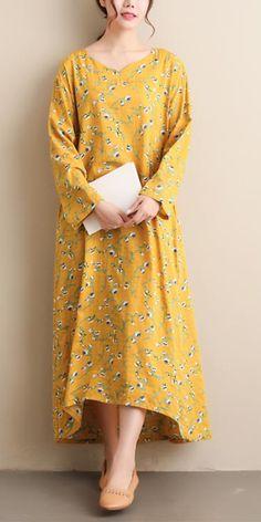 Chic Yellow Print Tunic Pattern V Neck Spring Dresses Cotton Wedding Dresses, Linen Dresses, Cotton Dresses, Spring Dresses Casual, Fall Dresses, Stylish Dresses, Cotton On Outfits, Fashion Spring, Autumn Fashion