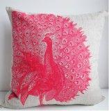 Happy Peacock Pillow