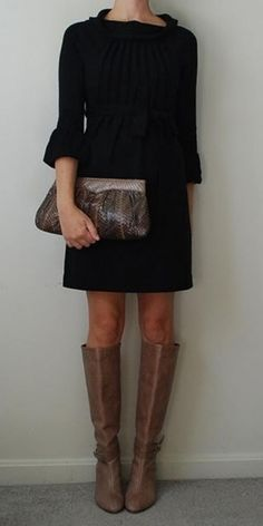 black dress, brown boots.