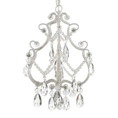 This beautiful chandelier features a single-light design and is decorated and draped with crystals that capture and reflect the light of the bulb. The wrought iron frame adds the finishing touch to a