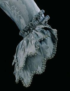 Blue Sack-Back Gown Sleeve with Matching Fly Fringe (Braid). Spitalfields, England. 1760-1769.