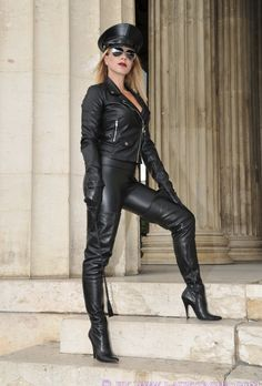 Leather Cap, Leather Gloves, Leather Pants, Black Leather, Alpha Female, Mistress, Lady, Boots, Woman
