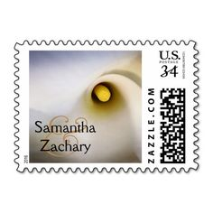 Personalized, calla lily floral postage stamps. Customized with a couple's names. Easily updatable. Change names, text color, font, ampersand color, etc. Other coordinating products available. #calla #lily #callalily #flower #postage #stamp #wedding