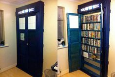 TARDIS Book/DVD shelf.    <3