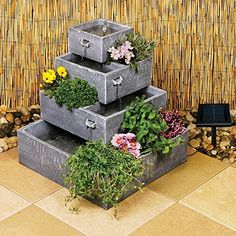 Make a statement with a couple of these beautiful Square Outdoor Solar Garden Patio Water Fountain. Duel function planter or rock garden and a water fountain, too. Solar Outdoor Fountain, Patio Water Fountain, Indoor Water Fountains, Garden Fountains, Perth, Herb Planters, Deco Originale, Solar Water, Best Solar Panels
