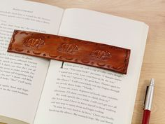 Leather Keyring, Leather Gifts, Leather Books, Leather Tooling, Leather Craft, Leather Bookmarks, Tooled Leather, Gifts For Pet Lovers, Gift For Lover