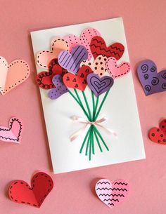 For holidays and birthdays, homemade cards are my favorite! With just a stack of colored paper, markers, and glue, my kids and are making these adorable bouquet of hearts cards for Valentine& Day. We will make some to share with. Valentine's Day Crafts For Kids, Valentine Crafts For Kids, Holiday Crafts, Diy And Crafts, Valentine Ideas, Card Crafts, Cute Valentines Day Cards, Decor Crafts, Simple Crafts