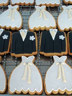 cute Bride & Groom Wedding Cookies. I would minus the groom and serve these at the bridal shower.