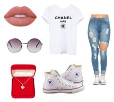 """"""""""" by mxvdx on Polyvore featuring mode, Converse, Alexa Starr, Lime Crime en Monki"""