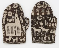 "Knitted gloves with motifs - Nordic Museum. ""4137 A pair of mittens fr. Dalsland. Af curious pattern. Purchased by the giver about 10 years ago on Vänersborgs squares by a peasant from Dalsland. Tagged: '1855.' Rather moth-eaten. G [Åva]. Af audit Secretaries. G. Ryding in Stockholm in March or April 1874. Car. Ryding. """