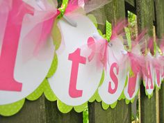 Baby Shower Banner It's A Girl Pink and Green by ElegantEvee, $16.00, baby shower ideas for Alumnae sisters