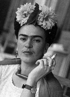 Frida Kahlo always smoking