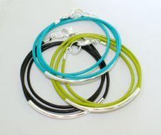 1 LEATHER Tube Bangle Wrap Bracelet   SILVER Tube by WrappedinYou, $12.50