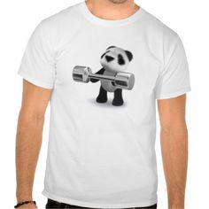 3d Baby Panda Weightlifter T Shirts
