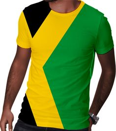 Jamaica Outfits, Jamaica Flag, Flag Colors, Neck Collar, Workout Shorts, Graphic Prints, Printed Shirts, Classic T Shirts