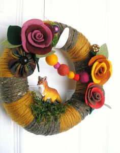 Fox Yarn Wreath by KnockKnocking, via Flickr