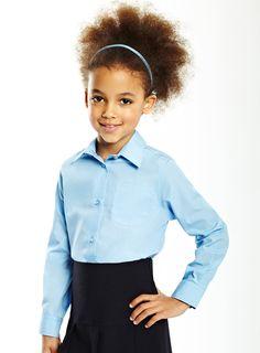f0e8f15489b73 Blue Junior Girls 2 Pack Long Sleeved Non Iron Blouse