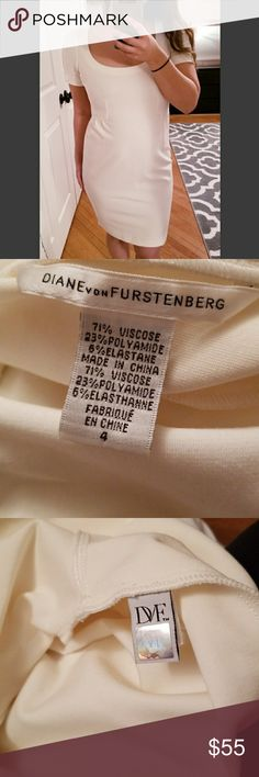 DVF Dress Super flattering authentic  DVF dress. off white. i have this in a black size 2 too. Diane Von Furstenberg Dresses
