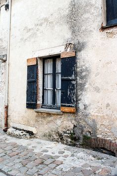 shutter resembles one shutter that was on the property, window is larger version of existing metal casement windows in shed.  Window depth into walls is quite similar and this style might lend itself to the overall architectural design needed.