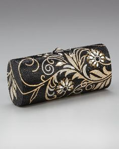 Judith Leiber Cylinder Floral Crystal Clutch in Ebonized Jet. Beaded Purses, Beaded Jewelry, Unique Handbags, Designer Clutch, Evening Bags, Evening Clutches, Clutch Bag, Clutch Handbags, Gold Handbags