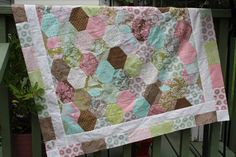 Geometric Quilt Baby Small Throw Blanket Home by RedButtonQuilting