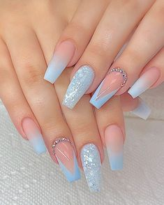 Blue Acrylic Nails, Summer Acrylic Nails, Summer Nails, Coffin Acrylics, Light Blue Nails, Cute Acrylic Nail Designs, Light Blue Nail Designs, Blue Nails With Design, Best Nail Designs