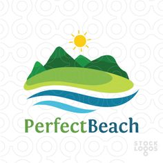 Warm logo for a beautiful beach surrounded by mountains. (beach, coast, mountains, grass, trees, green, sea, ocean, water, sand, tourisim, travel, county, resort, nature, landscape, background, sun, camp, hotel, Island)