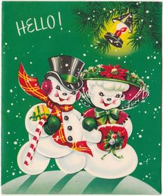 Vintage Greeting Card Christmas Mr & Mrs Snowman Fancy Hats Cute 1950s a378