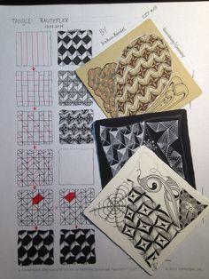 Zentangle Rautyflex, Zentangle Muster, grid, high focused tangle, Zentangle pattern, Zentangle Muster, Step out Rautyflex