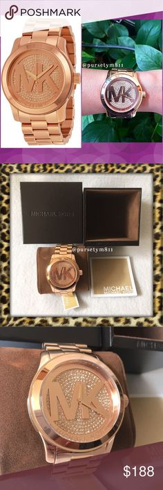 Authentic Michael Kors RoseGold Crystal Pave Watch 100% AUTHENTIC 💖 Stunning LARGE rose gold tone crystal pave watch from Michael Kors 💖 Water resistant at 100meters. Never used. Box, tag,booklet included. GORGEOUS 👌🏼 No trade ❌ Michael Kors Accessories Watches