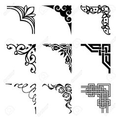 Illustration of set of ornamental corners in different style vector art, clipart and stock vectors.Celtic Border Stock Photos And Images- Millions of Creative Stock Photos, Vectors, Videos and Music Files For Your Inspiration and Projects. Boarder Designs, Page Borders Design, Stencil Patterns, Stencil Art, Damask Stencil, Zentangle Patterns, Celtic Border, Molduras Vintage, Islamic Art Calligraphy
