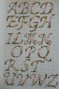 Croissant and lavender: Embroidery marker pen Monogram Cross Stitch, Cross Stitch Alphabet Patterns, Embroidery Alphabet, Cross Stitch Borders, Cross Stitch Rose, Cross Stitch Samplers, Hand Embroidery Designs, Cross Stitch Flowers, Cross Stitch Charts