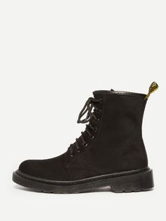 Ankle Decorated with Lace Up. Flat Boots with Round Toe. Boots have No zipper. Perfect choice for Casual wear. Trend of Spring/Autumm-2018. Designed in Black.