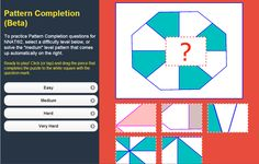Online game to practice Pattern Completion questions for NNAT®2