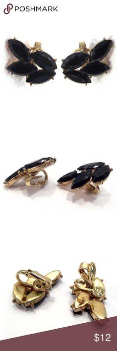 "Vintage Trifari Earrings Black Rhinestones - Clips Clip earrings - Trifari - 4 marquis rhinestone on each.  Gold tone metal.  Measure about 5/8"" x 1-1/8"".  ❤️❤️ BUNDLE to SAVE on POSTAGE ❤️❤️   (696-3-0) Vintage Jewelry Earrings"