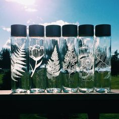FREE Shipping  Etched Glass Water Bottle 12.8 by CrystalDaeDreams