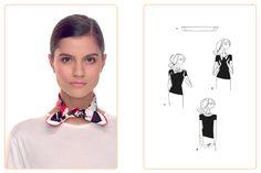 Ce nouage «Petit Gaucho» est réalisable avec un gavroche et un carré 70x70 cm. Jouez avec votre carré Hermès avec l'application Silk Knots! #Hermes #Silk #SilkKnots