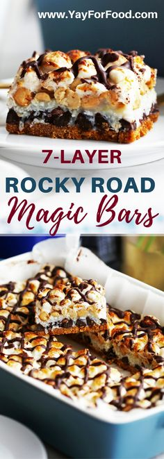A decadent sweet dessert bar that's extremely easy to put together. These classic magic bars have layers of chocolate chips, marshmallows, peanuts, and more! #desserts | #magicbars | #hellodollybars | #dessertbars | #rockyroad | #marshmallows | #chocolate | #easydesserts | #christmasdesserts
