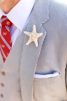 Nautical Wedding - starfish boutonniere for the groom - A First Class Maui Wedding