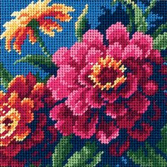 DIMENSIONS-Mini-Zinnias. Needlepoint. Kit contains: cotton thread full color print on 14 mesh canvas needle and easy instructions. Finished size: 5x5.